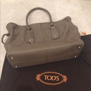 Tods Leather Taupe Handbag